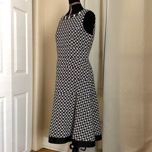 Anne Klein black and white floral jeweled dress